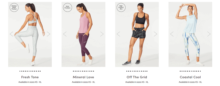 Image of 4 different workout outfits