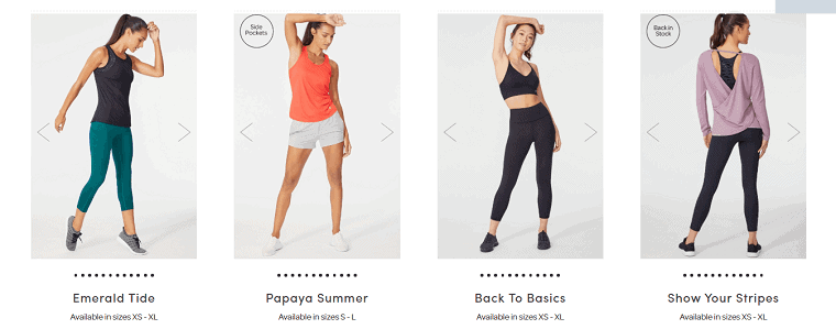 4 different workout outfits