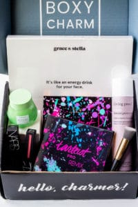 June 2020 BoxyCharm Premium Box opened with all of the items visible inside