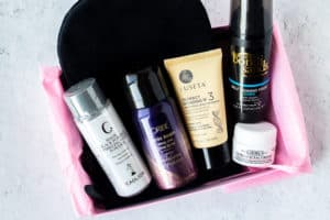 July 2020 Birchbox with the products displayed inside the open box on a white background