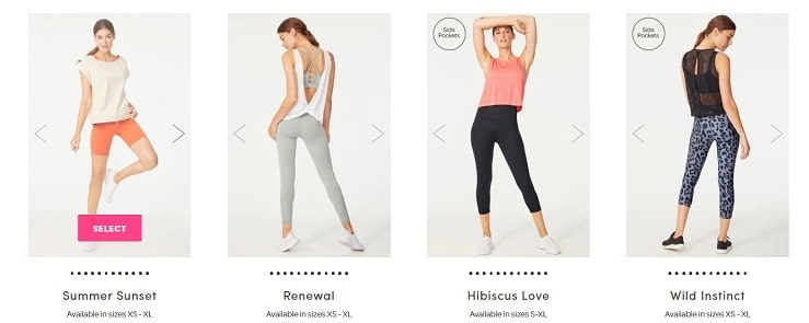 4 workout outfits in a row