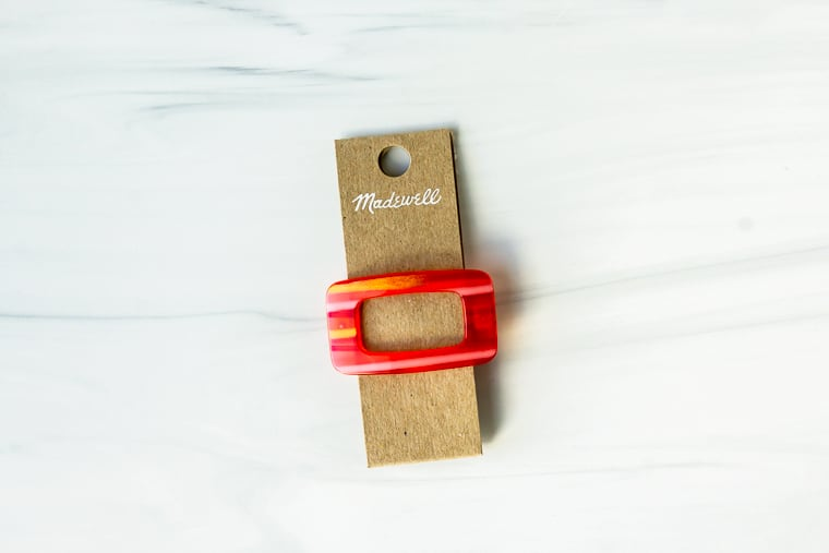 Madewell acetate barrette on a white background