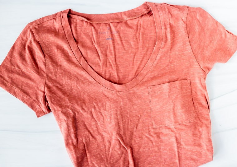 Calson Rounded V-Neck Tee in pink on a white background