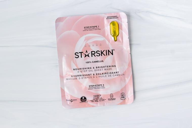 Starskin 100% Camellia – Nourishing & Brightening 2-Step Oil Sheet Mask on a white background