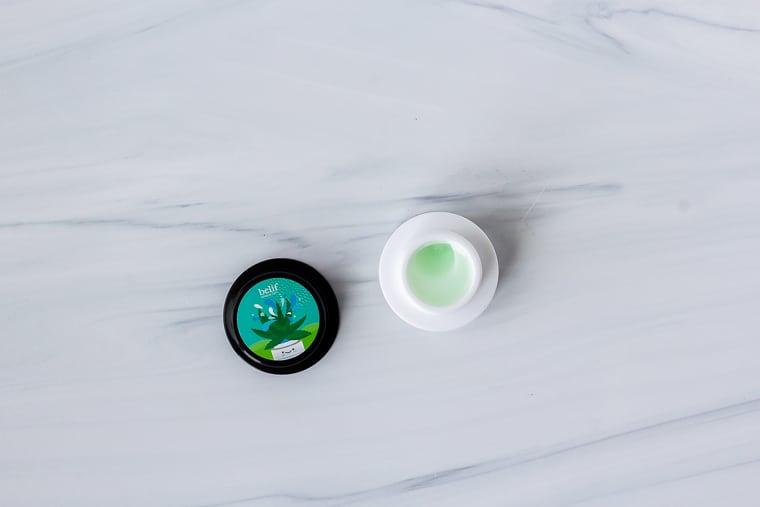 Belif The True Cream Aqua Bomb Aloe Vera with lid off on a white background