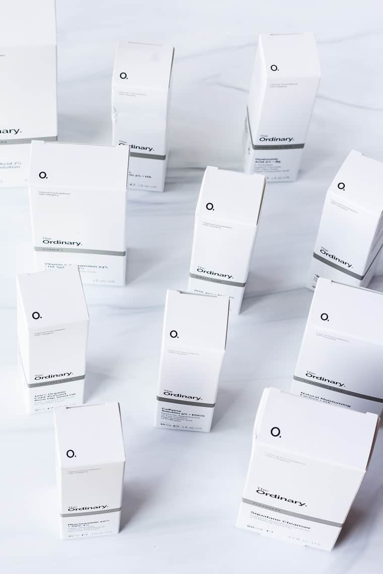 11 The Ordinary Products in their boxes on a white background