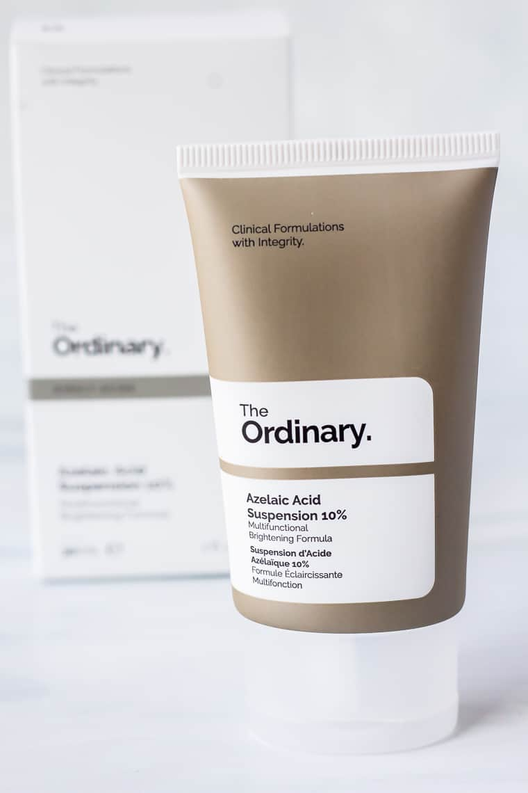 A tube of The Ordinary Azelaic Acid Suspension 10% with the box behind it on a white background