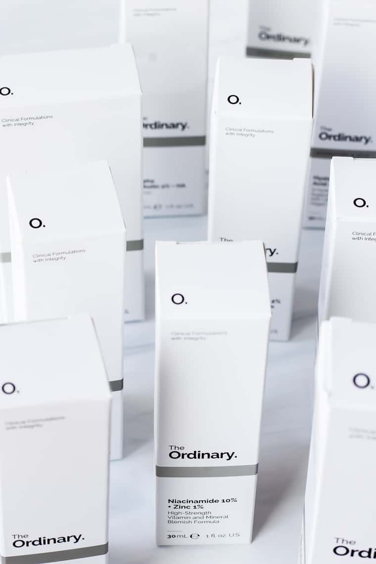 A bunch of The Ordinary Products in boxes on a white background - including the 10 best products and runner ups