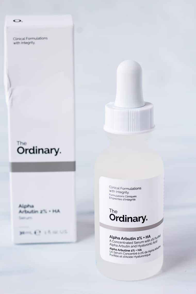 The Ordinary Alpha Arbutin bottle and box on a white background