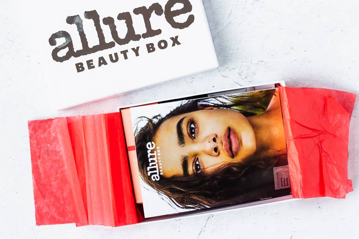 July 2020 Allure box opened to show the booklet inside