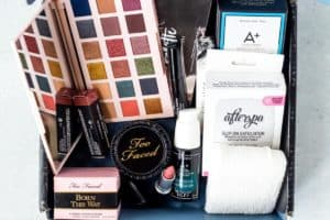 All the items in my August 2020 BoxyCharm Premium box displayed inside of the box