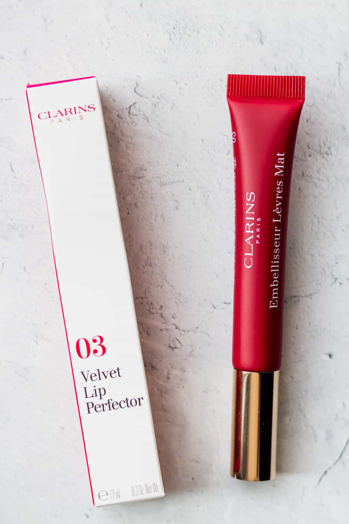 Clarins Velvet Lip Perfector in red