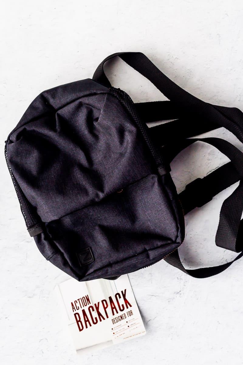 Black mini backpack on a white background