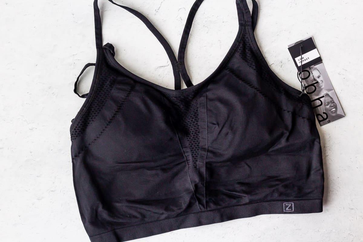 Black sports bra on a white background