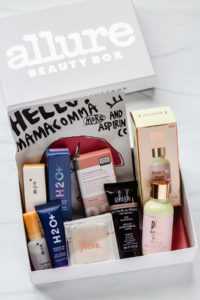 The August 2020 Allure Beauty Box opened with all of the items displayed inside