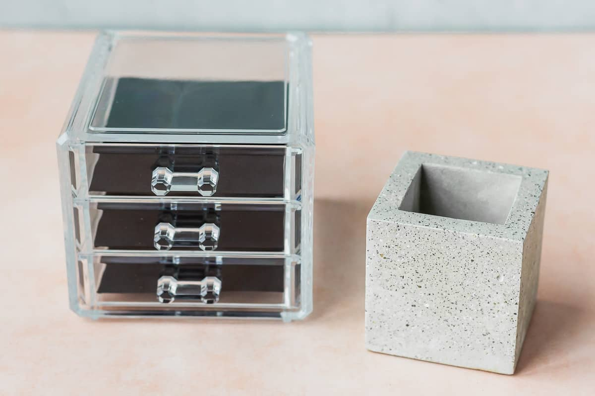 Uncommon James small square planter and a small 3 drawer box