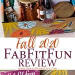 Fall 2020 fabfitfun items displayed in the box with text overlay between the pictures