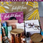 Fall 2020 fabfitfun items displayed in the box with text overlay