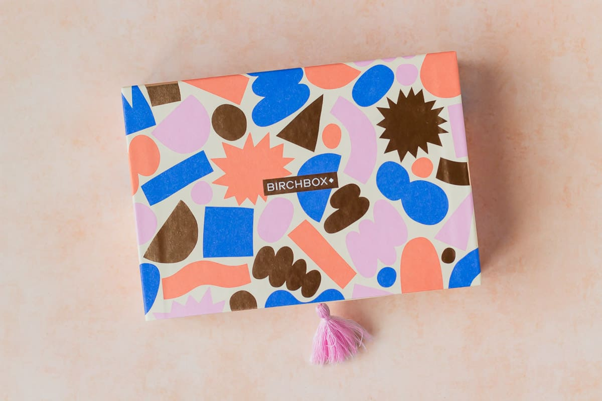 September 2020 birchbox package on a peach background