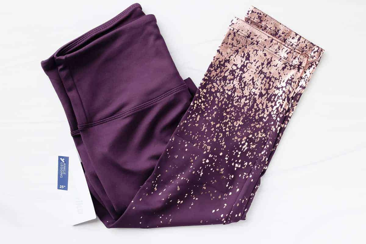 Purple leggings with rose gold sparkle on the lower half