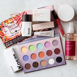 my October 2020 Boxycharm Premium box items displayed on a white background