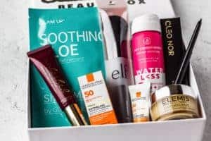 September 2020 Allure Beauty Box contents displayed inside of the box