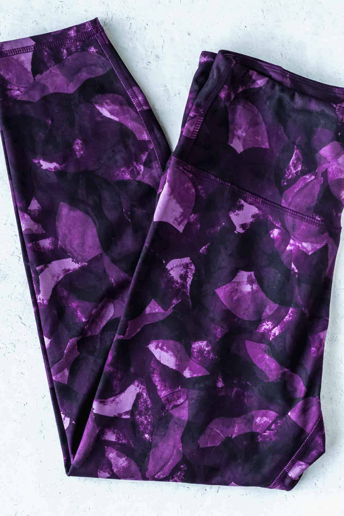 Purple abstract Marika high-waisted printed contender leggings on a white background