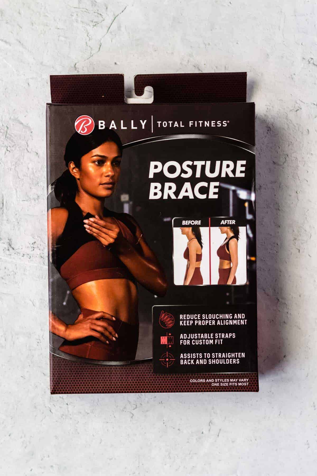 bally total fitness posture brace package on a white background