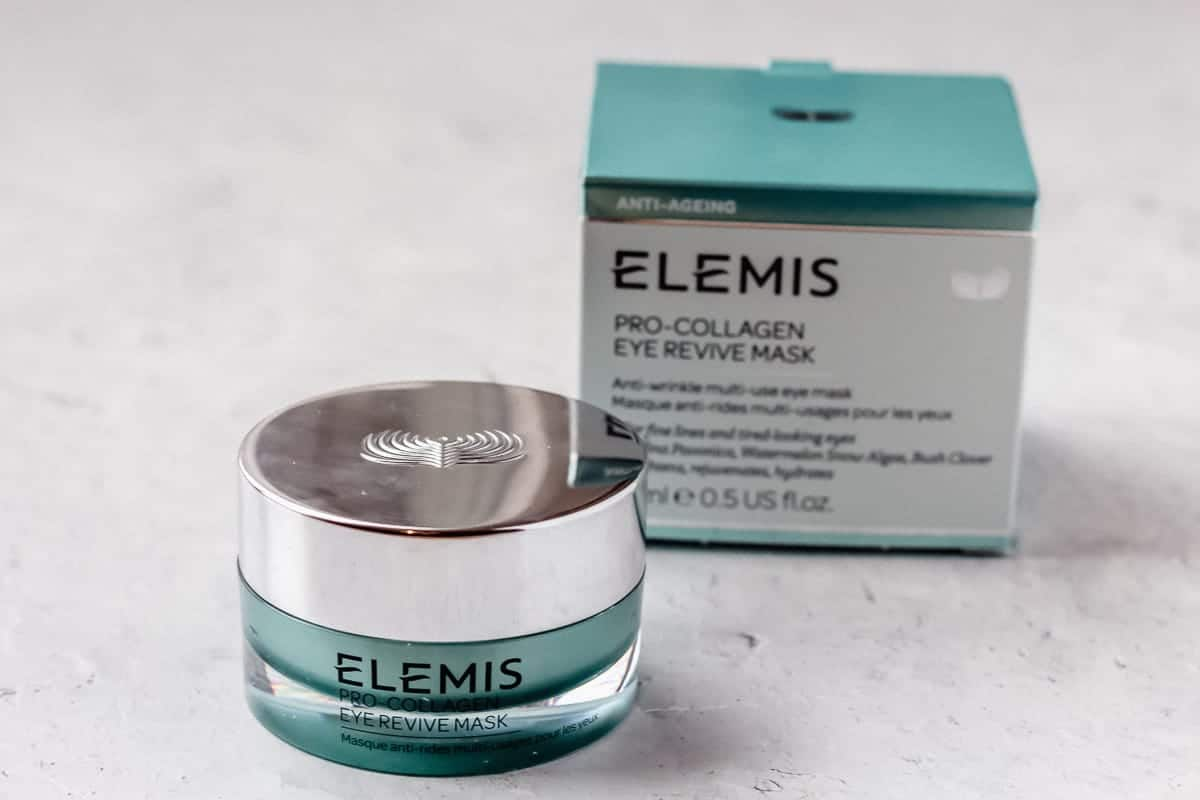 elemis pro-collagen eye revive mask jar and box on a white background