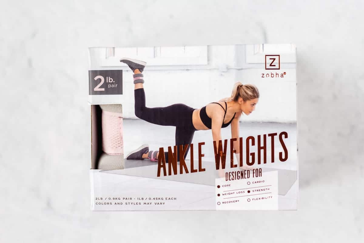 Zobha ankle weights packaging on a white background