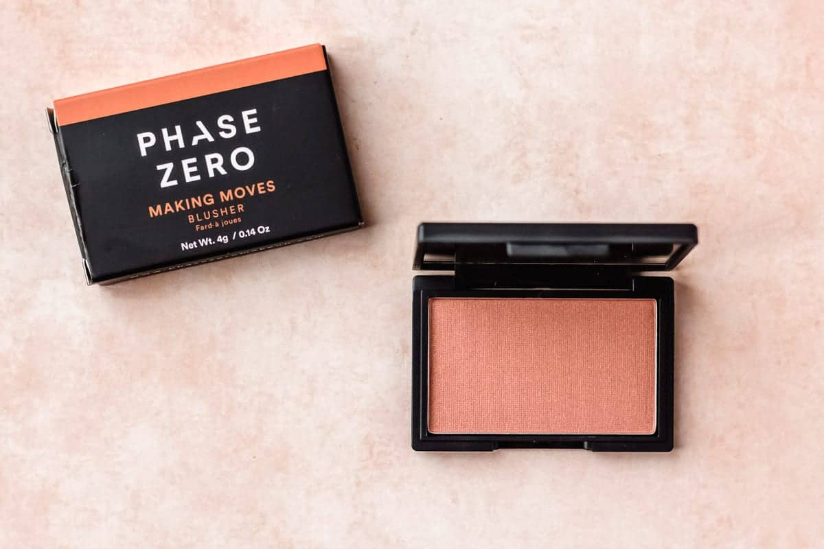 Phase zero making moves blusher and box on a peach background