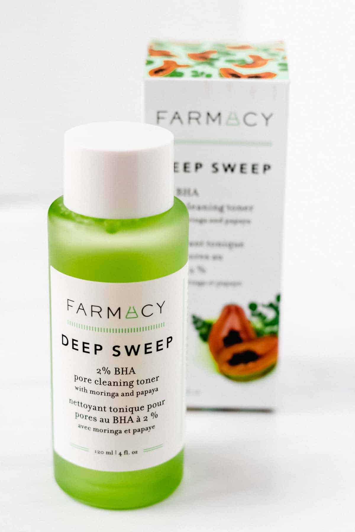 Farmacy Deep Sweep 2% BHA Pore Cleaning Toner bottle and box on a white backdrop