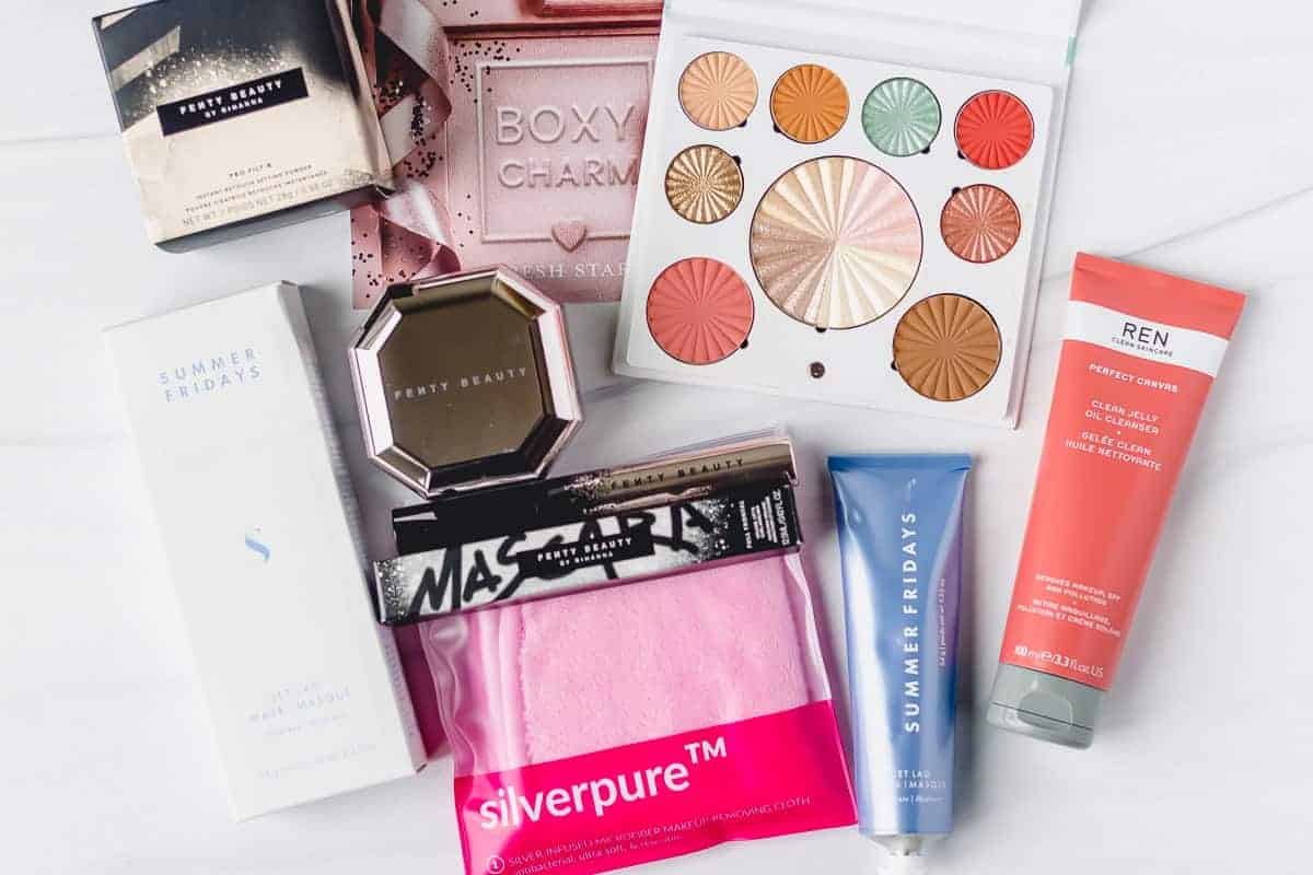All of my items from my January 2021 boxycharm premium box laid out on a white background