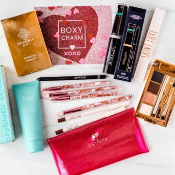 All of the products from the february 2021 boxycharm base box on a white background