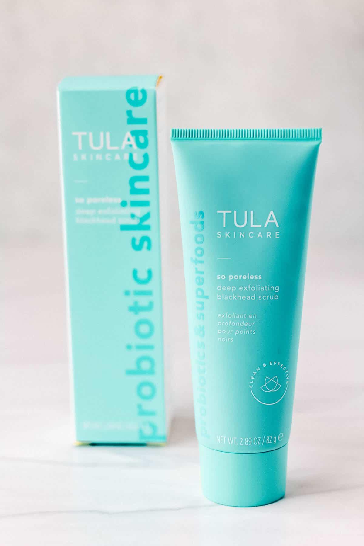 Tula Skincare So Poreless Deep Exfoliating Blackhead Scrub tube and box on a white background