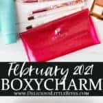 2 images of the boxycharm february 2021 box and products separated by text overlay