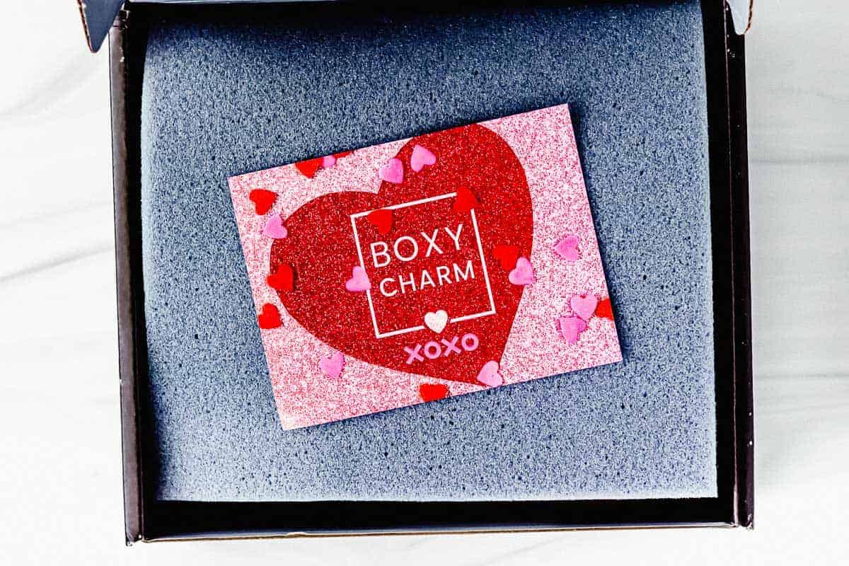 February 2021 Boxycharm Premium box opened with the foam and insert card on top