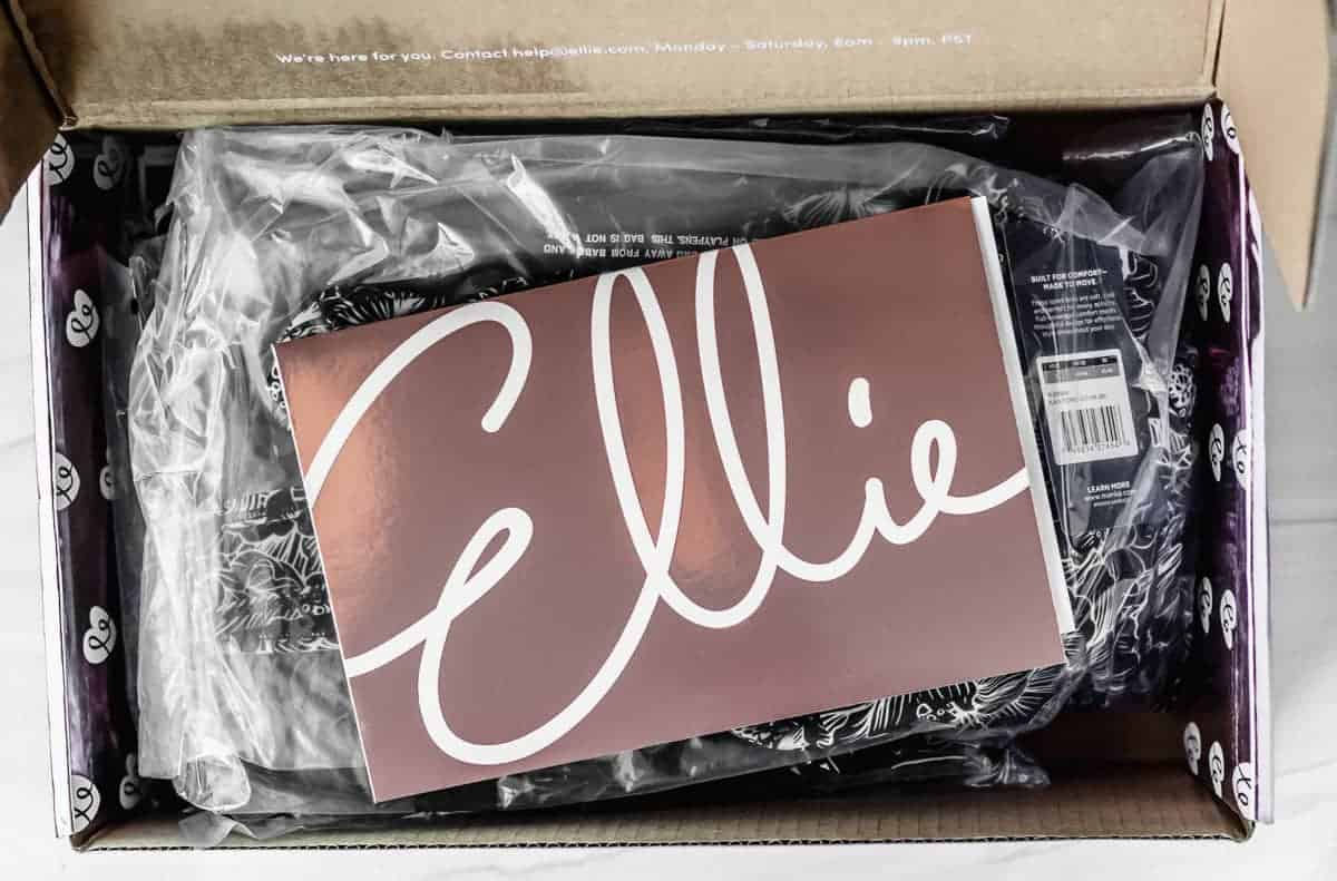 February 2021 Ellie subscription box opened to show items in bags with the insert card on top