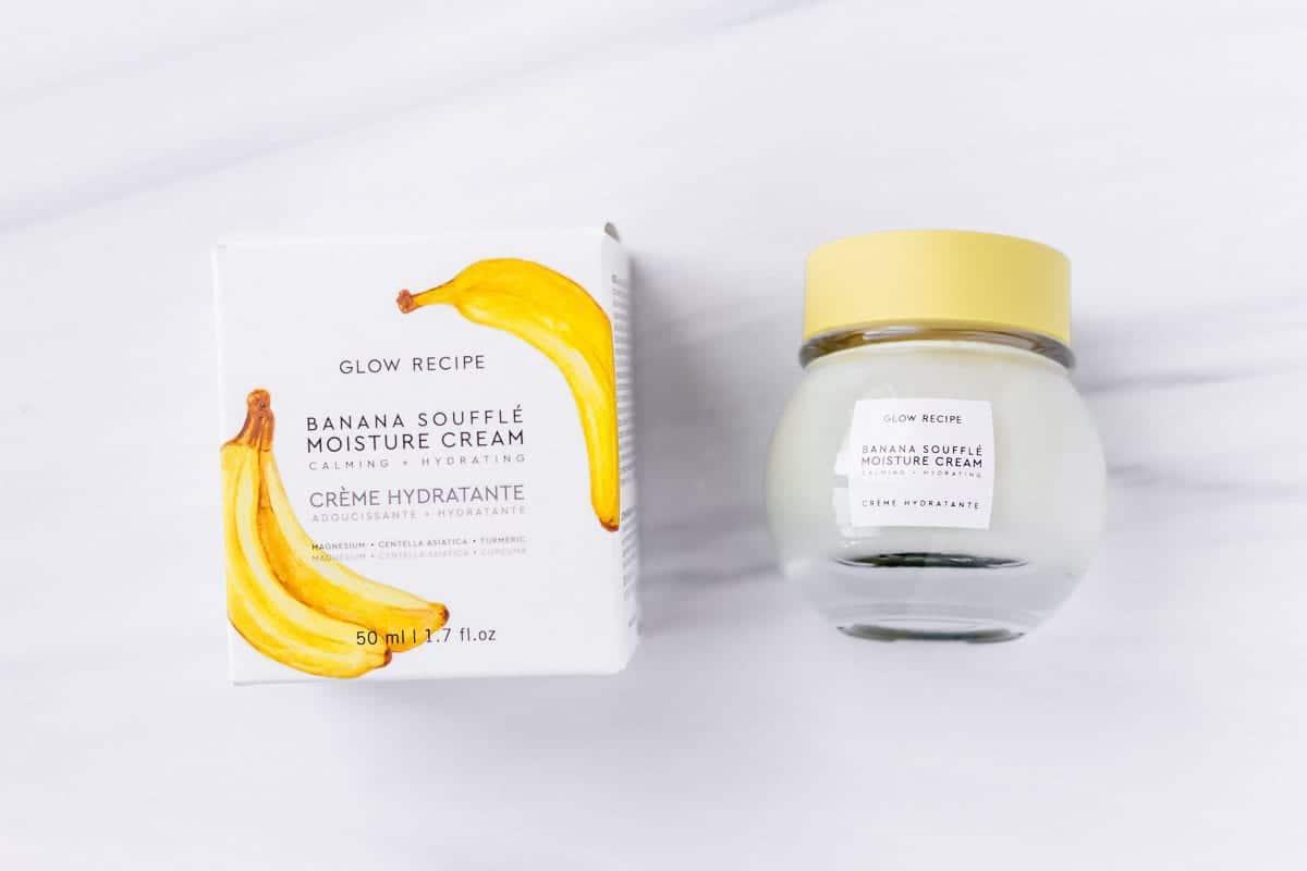 Glow Recipe Banana Souffle Moisture Cream jar and box on a white background