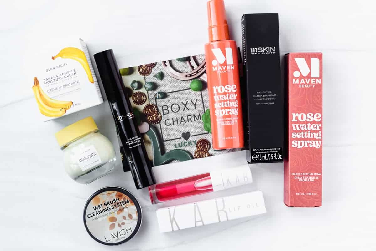 All of the items that I received in my March 2021 Boxycharm box displayed on a white background