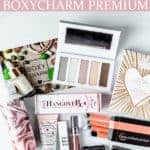 All of the items in my March 2021 boxycharm premium box on a white background with text overlay