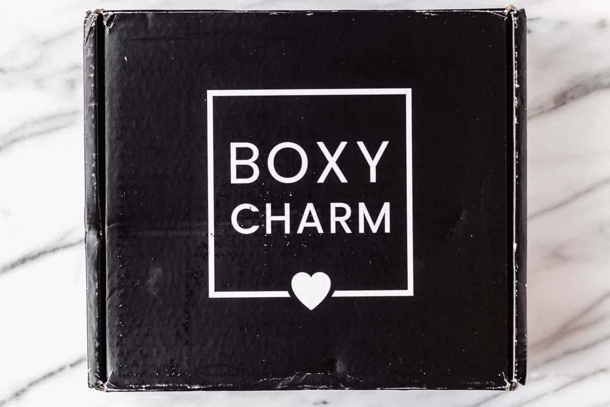 April 2021 Boxycharm Premium box on a marble background