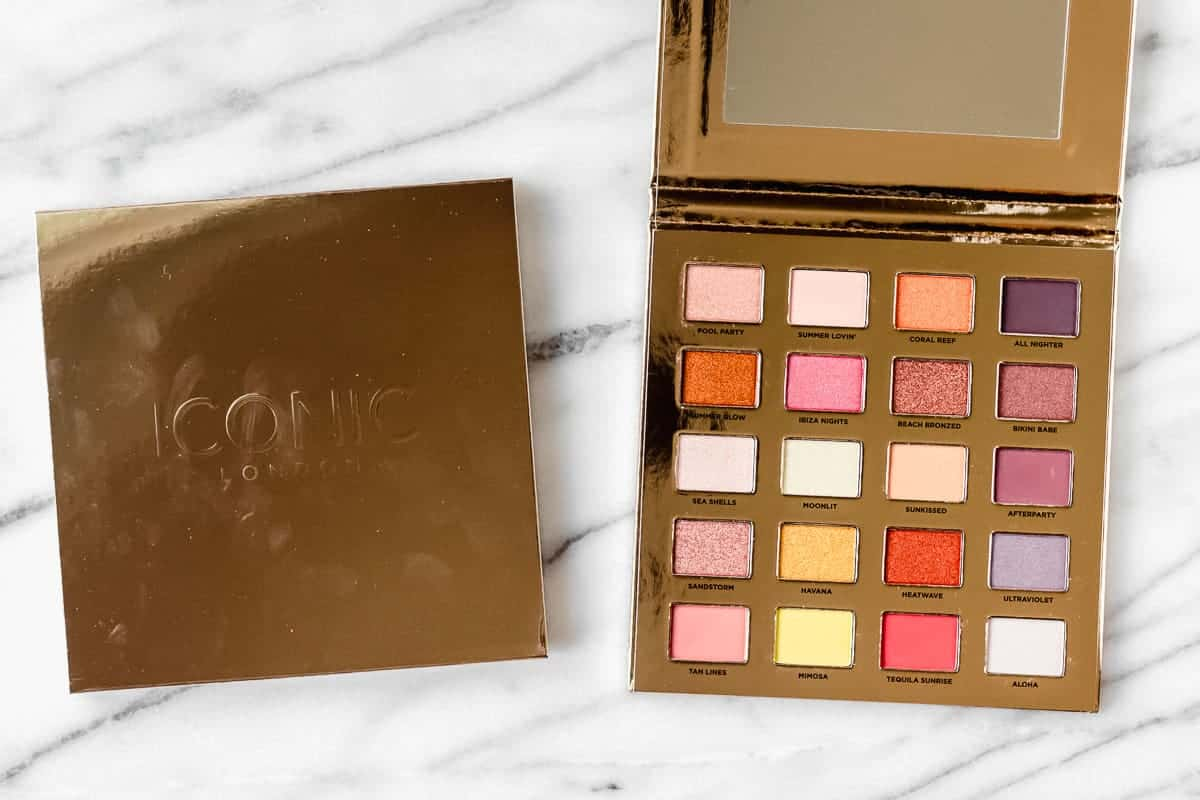 Iconic London Sunset to Sunrise Eyeshadow Palette opened over a marble background