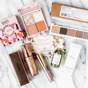 All of the beauty products that I got in my april 2021 boxycharm base box laid out