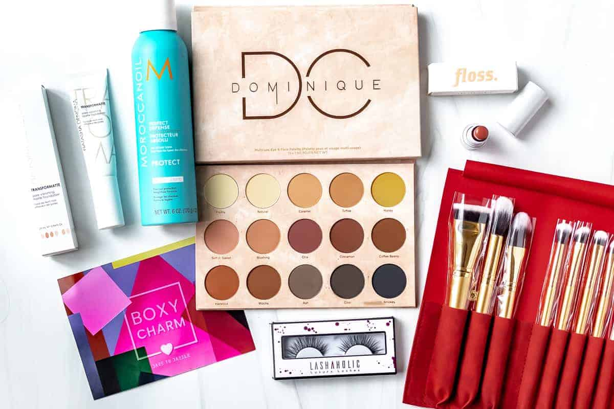 All of the items from my June 2021 Boxycharm premium box on a white background