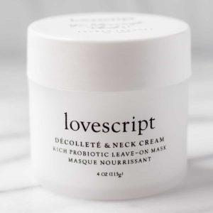 Lovescript Decollate and Neck Cream Jar on a light background