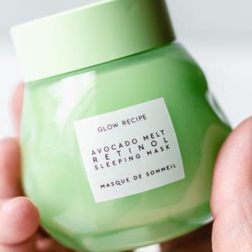 Close up of a jar of glow recipe avocado melt retinol sleeping mask
