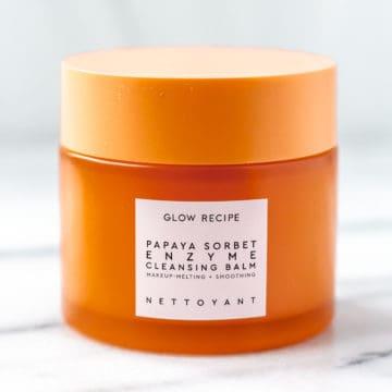 Close up of a jar of Glow Recipe Papaya Sorbet Enzyme Cleansing Balm Jar