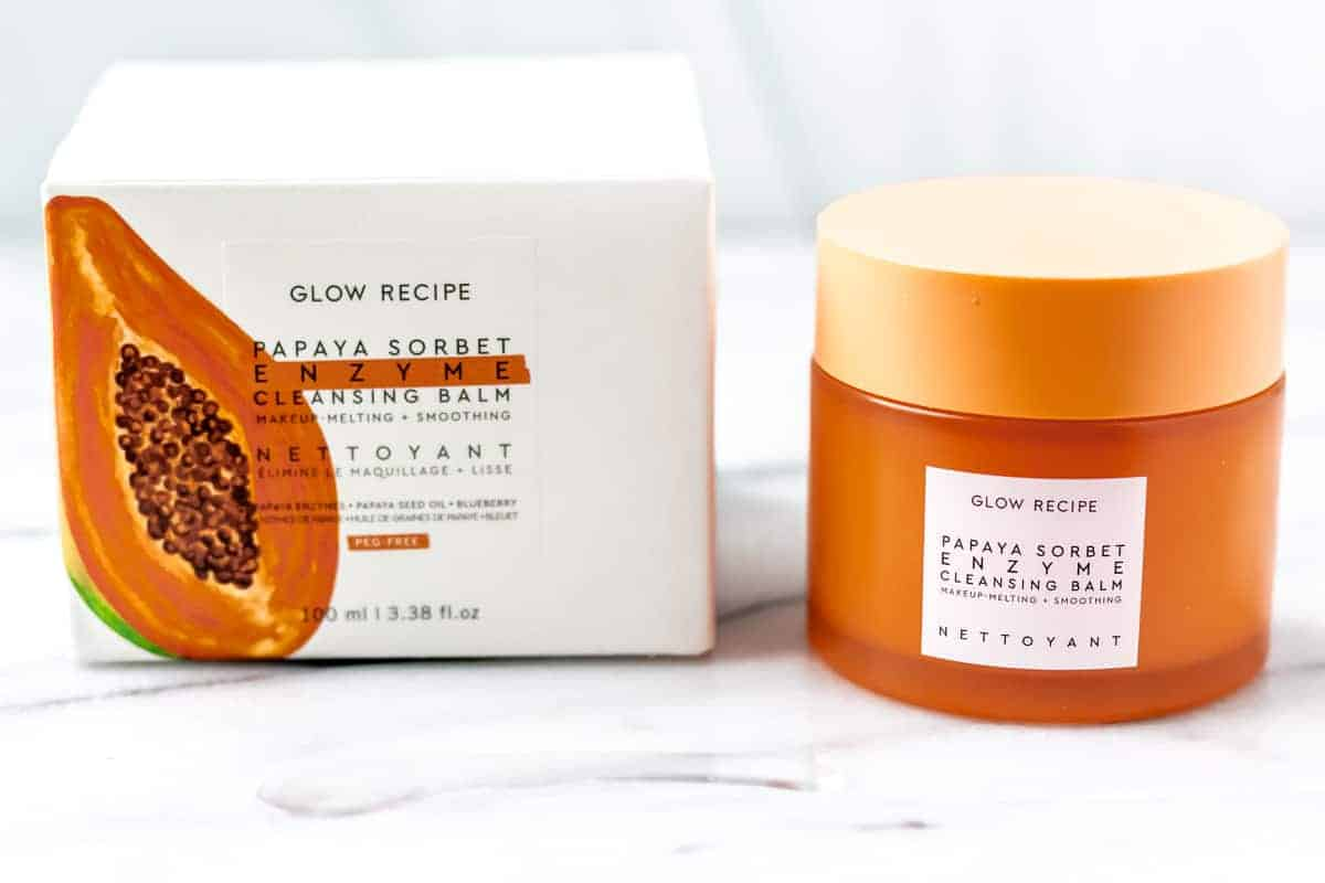 Glow recipe Papaya Enzyme Cleansing Balm jar and box on a white background