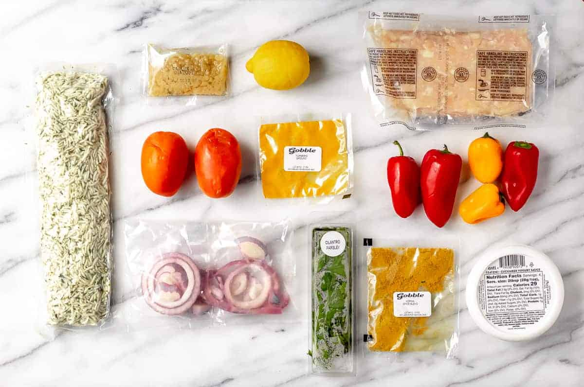 Ingredients to make a gobble recipe laid out on a marble background